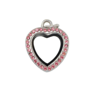 Mini Silver Heart Locket with Rose Crystals