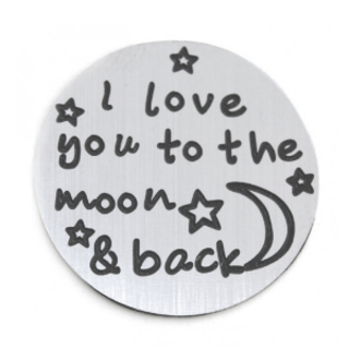 Stainless Steel Living Locket Faceplate - I love you to the moon & back