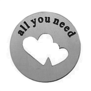 Stainless Steel Living Locket Faceplate - all you need is love