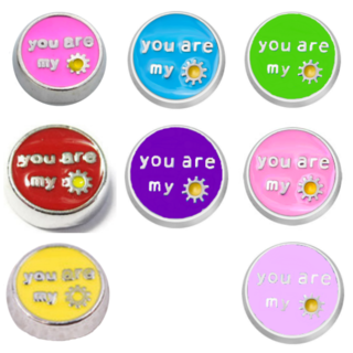 Silver You are My Sunshine Charm - 8 colours