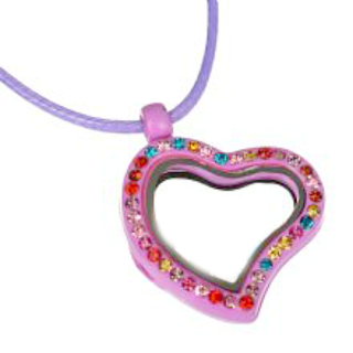 Pink Heart Living Locket with Colourful Crystals