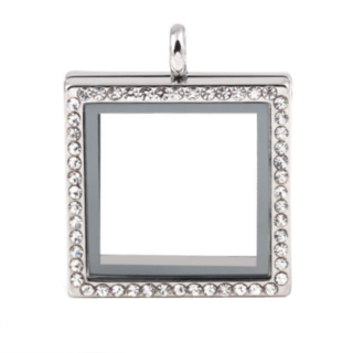 Large Square Living Locket with Crystals