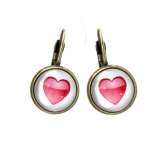 Red Heart Dome Earrings