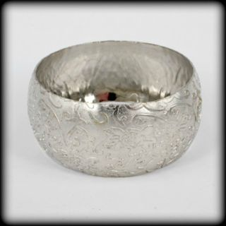 Wide Engraved Silver Bangle