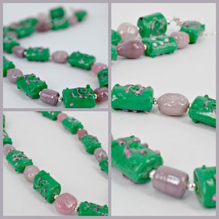 Green & Lilac Beaded Necklace