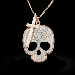 Rose Gold Skull and Cross Necklace