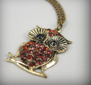 Antique Bronze Owl with Red Crystals