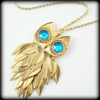 Gold Owl with Turquoise Eyes