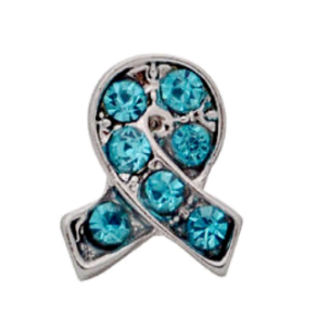 Blue Crystal Ovarian Cancer Awareness Ribbon Charm