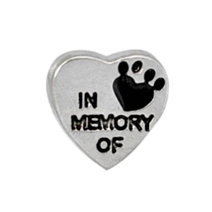 In Memory Of Paw Print Heart Charm