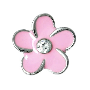 Pink Flower Charm with Crystal Accent