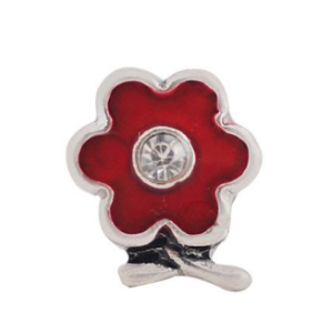 Red Flower Charm with Crystal Accent