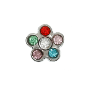 Flower - Multi Crystals Charm #1