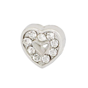 Crystal Heart Charm with Cutout Accent