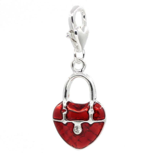 Glossy Red Heart Dangle Charm