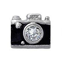 Camera Charm with Crystal Accent