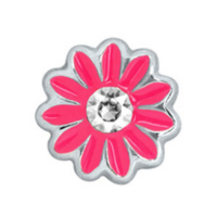 Dark Pink Daisy Charm with Crystal Accent