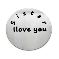 Stainless Steel Living Locket Faceplate - sister I love you