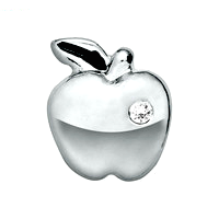 Silver Apple Charm with Crystal Accent