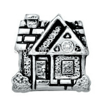 Silver House Charm with Crystal Accent