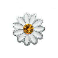 White Daisy Charm with Crystal Accent