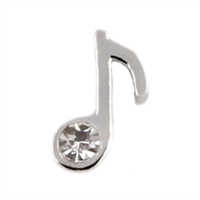 Single Music Note Charm with Crystal Accent