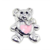 Silver Teddy Bear Charm with Pink Heart