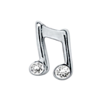 Double Silver Music Note with Crystal Accents