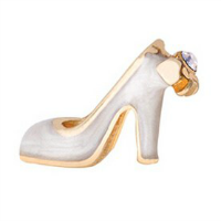 Gold & White Wedding Shoe Charm with Crystal Accent