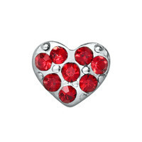 Silver Heart & Red Crystal Charm