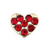 Mini Gold Heart & Red Crystal Charm
