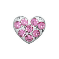 Mini Silver Heart & Pink Crystal Charm