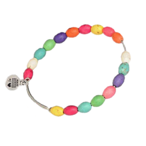 Adjustable Silver Stacking Bangle & Colourful Turquoise Drum Beads