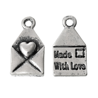 Silver Made with Love Envelope Charm