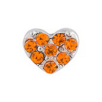 Silver & Orange Crystal Heart Charm