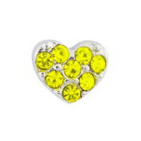 Silver & Yellow Crystal Heart Charm