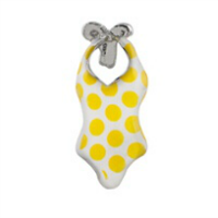 Retro White & Yellow Polkadot Swimsuit Charm