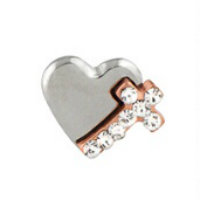 Cross & Heart Charm with Crystals