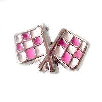 Pink Racing Car Flag Charm