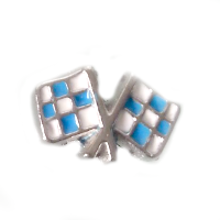 Blue Racing Car Flag Charm