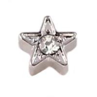 Silver Star with Centre Crystal Accent Charm
