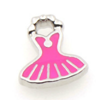 Silver & Fuchsia Pink Party Dress Charm