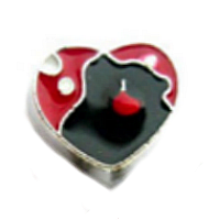 Red & Black Couple Silhouette Heart Charm