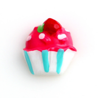 Pink Resin Cupcake Charm with Candy Stripes