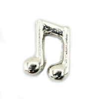Silver Double Music Note Charm #2