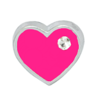 Mini Fuchsia Pink Heart Charm with Crystal Accent