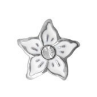 White Stephanotis Flower Charm with Crystal Accent