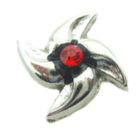 Silver Windmill Charm with Red Crystal Accent