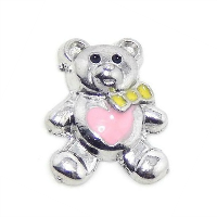 Silver Bear Charm with Pink Heart