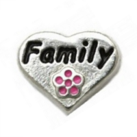 Silver Family Heart with Pink Flower Charm